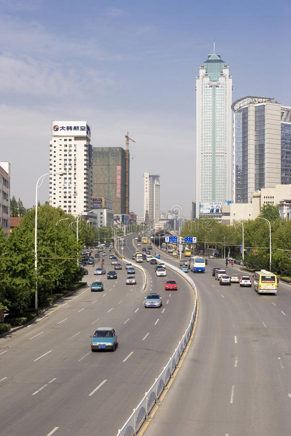 Street in Wuhan of China. Wuhan (simplified Chinese: 武汉) is the capital of Hubei province, People's Republic of China, and is the most populous city stock image