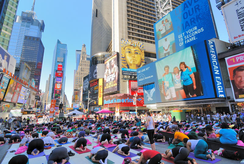 Street yoga in times square editorial photo image of for Activities in times square