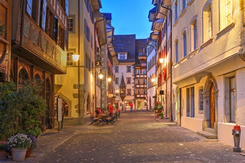 Street in Zug, Switzerland stock photo