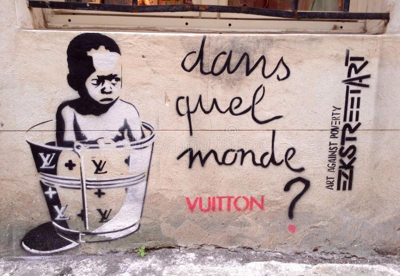 Streetart Parigi fotografie stock
