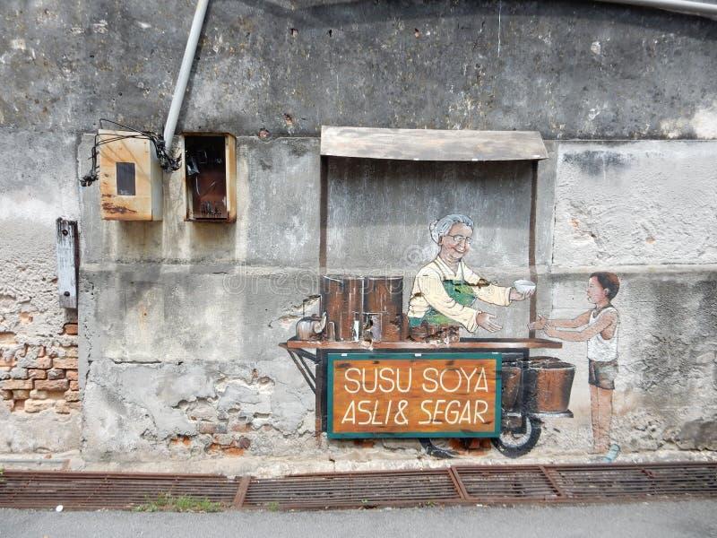 Streetart a Penang in Malesia fotografia stock