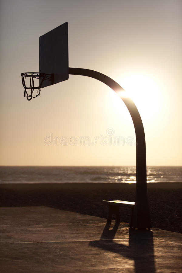 Streetball basket in the sunset stock image