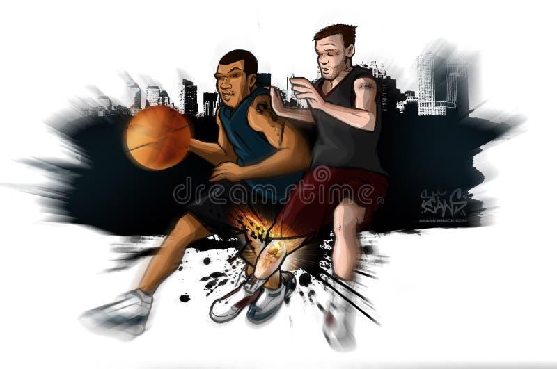 Streetball Basketball Knee Injury royalty free illustration