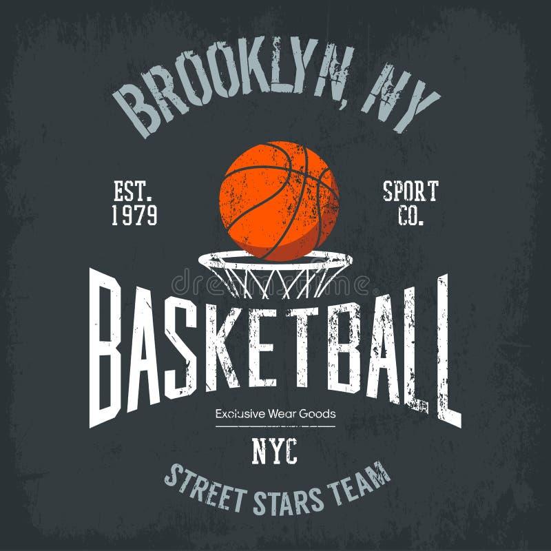 Streetball of de het stedelijke embleem en banner van het sportteam vector illustratie