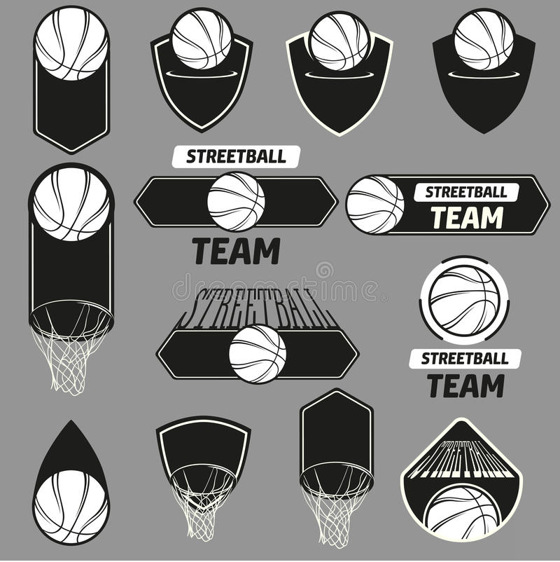 Streetball logouppsättning stock illustrationer