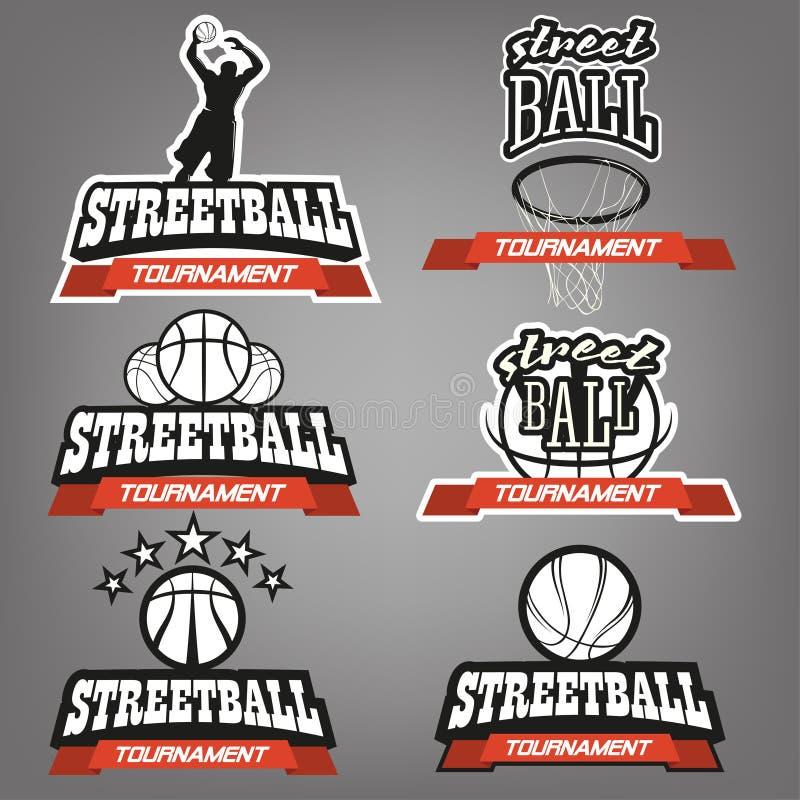 Streetball logouppsättning vektor illustrationer