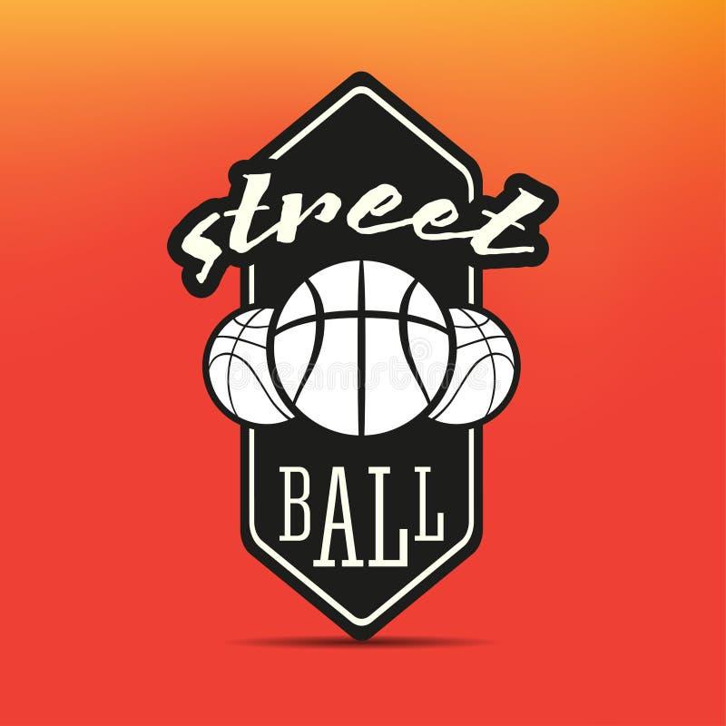 Streetballembleem stock illustratie