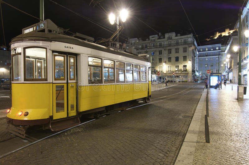 Streetcar. Tram in the historic center of Lisbon, Portugal stock photography