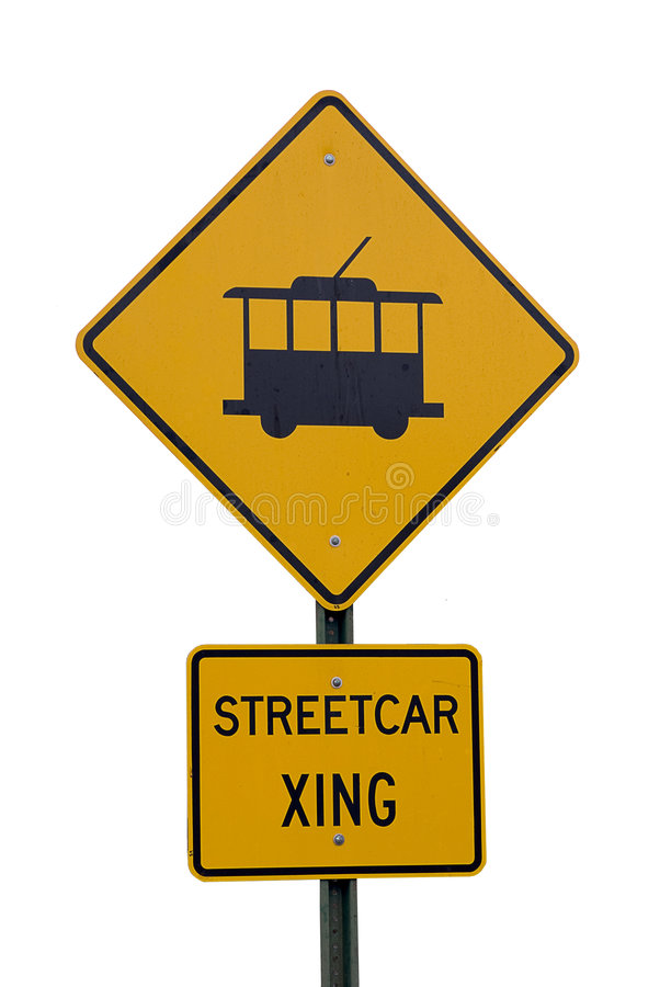 Download Streetcar crossing sign stock image. Image of tram, caution - 4619067