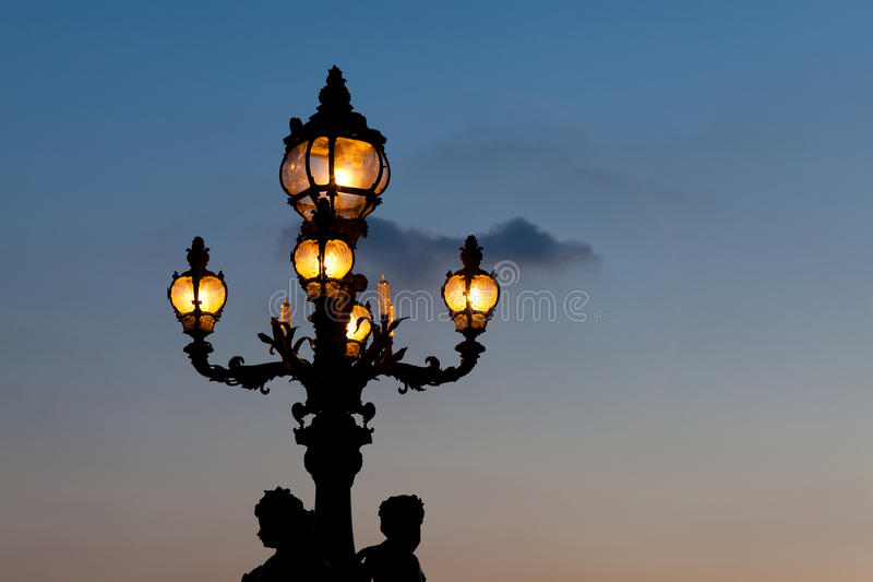 Streetlamp In The Bridge Alexander III, Paris Royalty Free Stock Photo