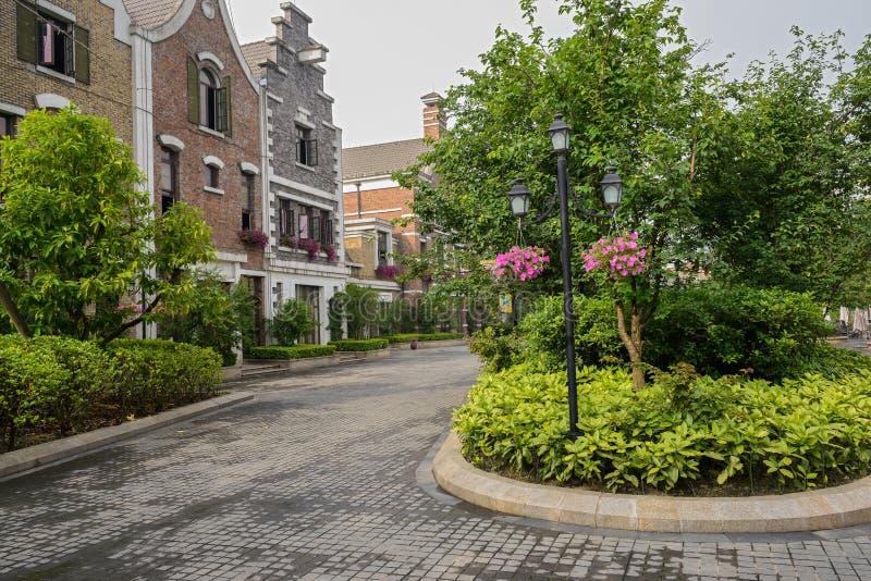 Streetlamp Before European-style Buildings In Spring Morning Stock Photo
