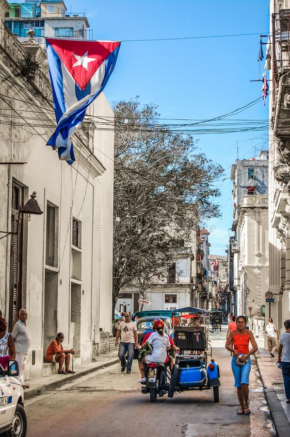 Streetlife at noon in Havana, Cuba royalty free stock image