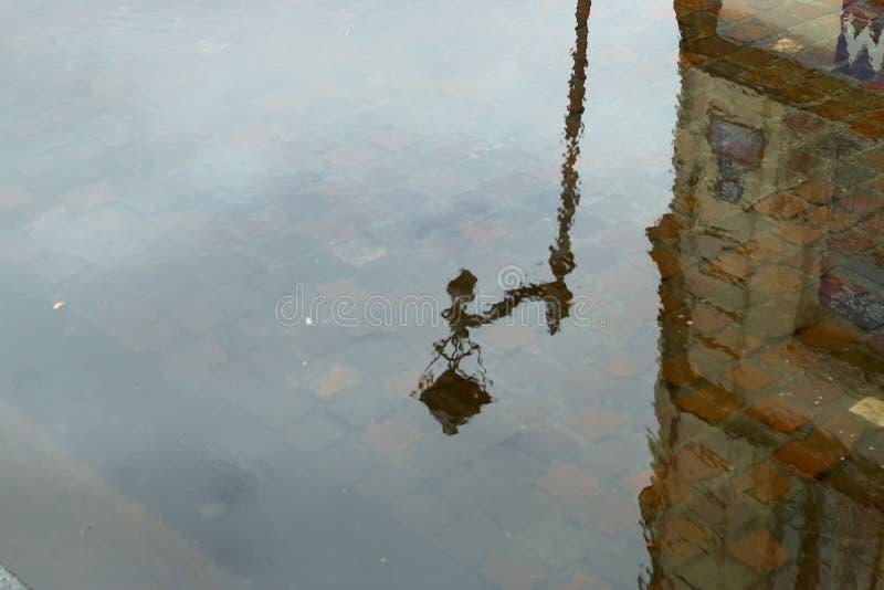 Streetlight i vatten arkivbild