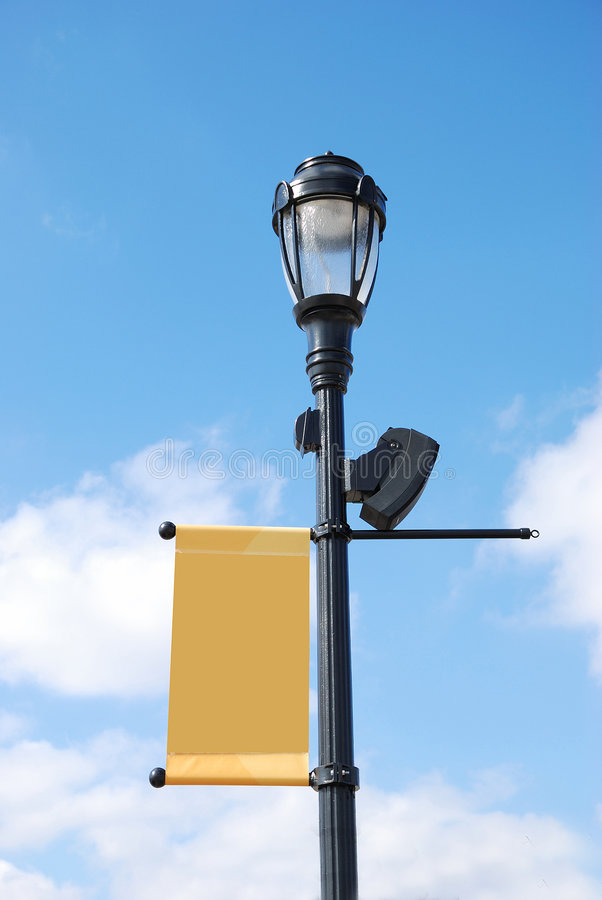 Free Streetlight With Blank Banner Stock Image - 8298801