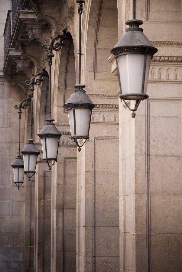 Streetlights in Barcelona royalty free stock photography