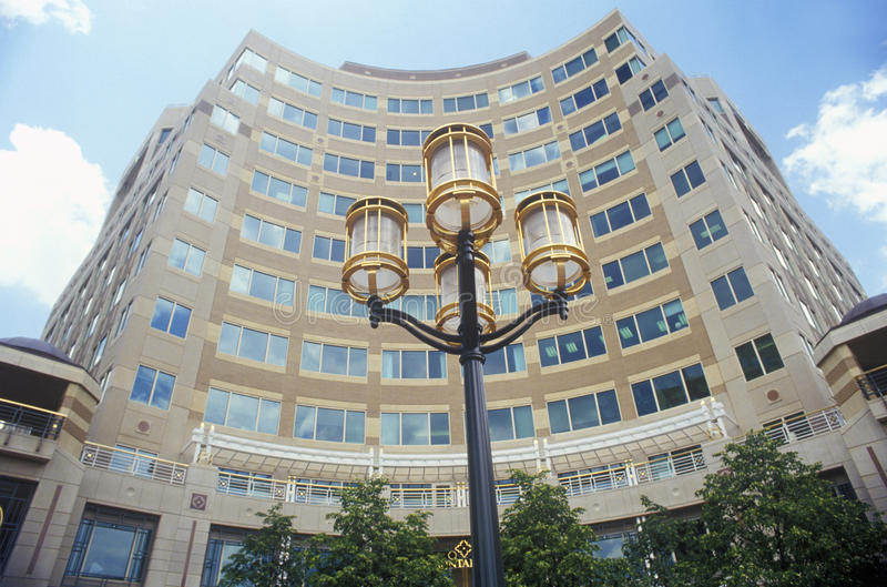Streetlights in front of Reston, VA town center, a planned community stock image