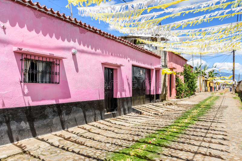 Streets adorned for St John's Day procession, Guatemala stock image