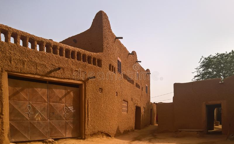 At the streets of Agadez old city, Niger. At the streets of Agadez old city in Niger stock photo