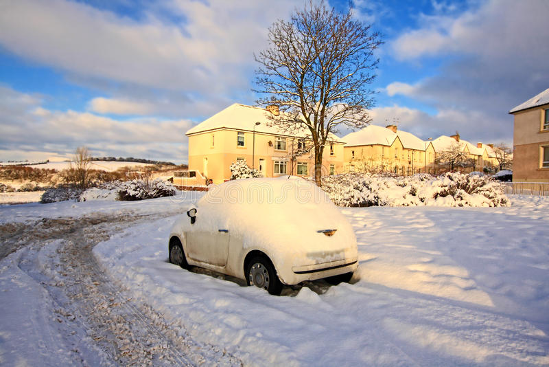 Streets of Airdrie covered with snow royalty free stock image