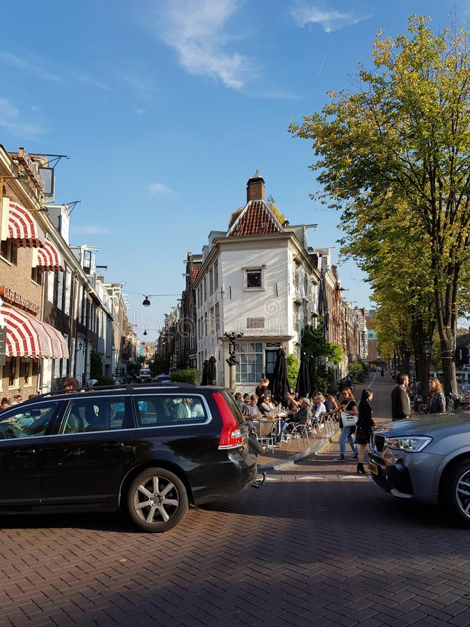 Streets of Amsterdam on a sunny bright day royalty free stock photography