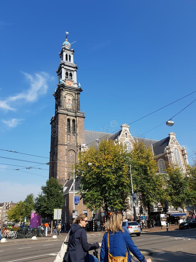 Streets of Amsterdam on a sunny bright day stock photos