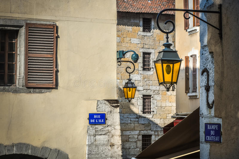 Streets of Annecy, France. In the streets of Annecy. Annecy is the largest city of Haute Savoie department in the Auvergne Rhone Alpes region in southeastern stock photos