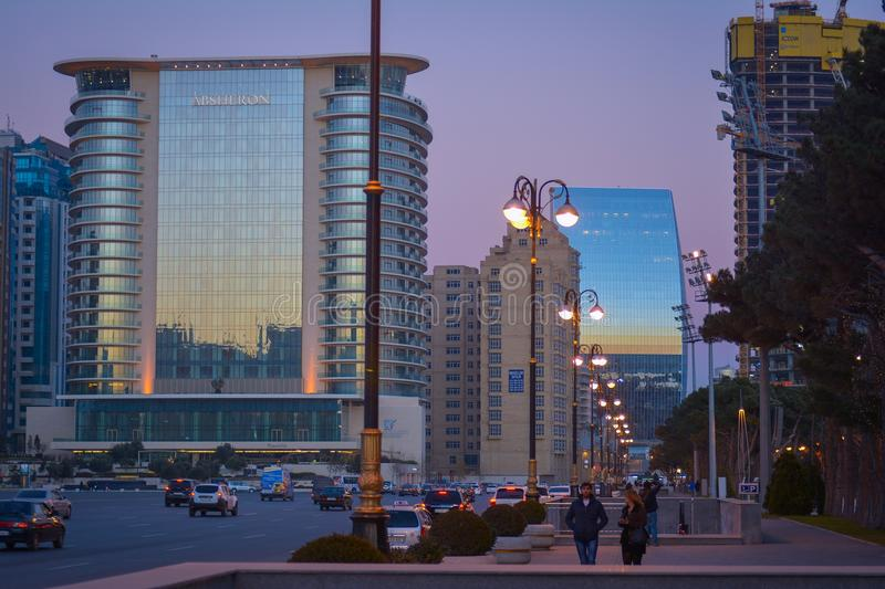 Streets of Baku in the evening royalty free stock photography