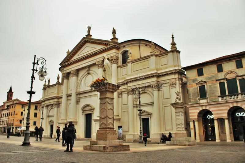 In the streets of bassano del grappa, palaces and churches with squares of the beautiful town.  royalty free stock images