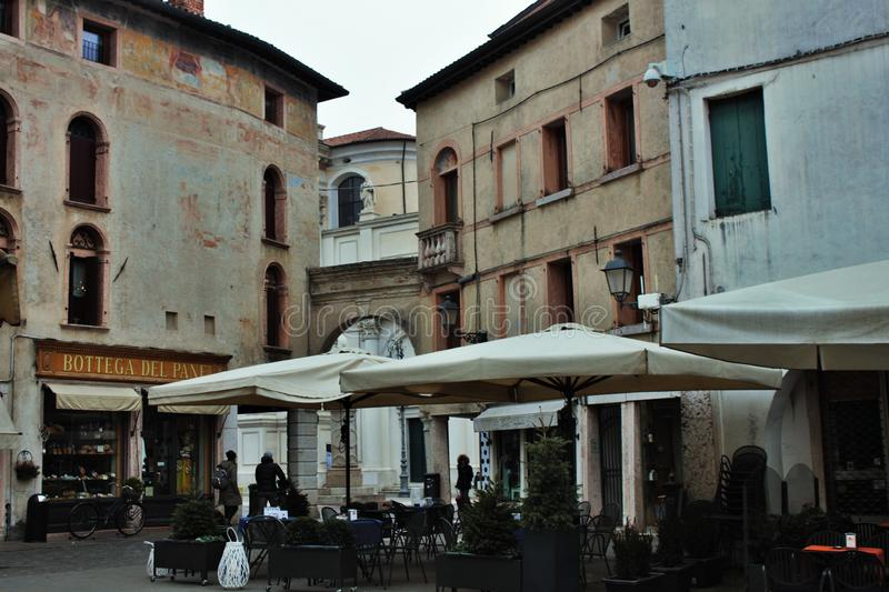 In the streets of bassano del grappa, palaces and churches with squares of the beautiful town.  stock images