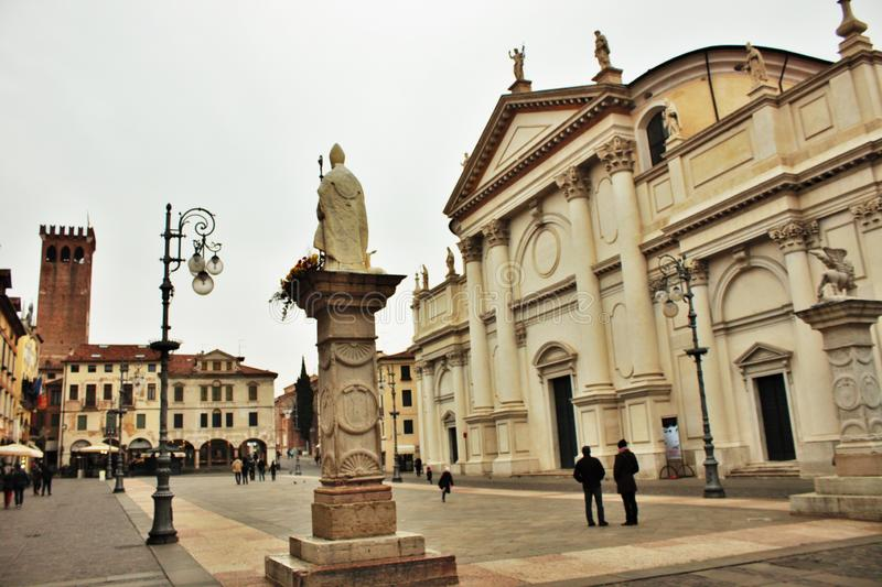 In the streets of bassano del grappa, palaces and churches with squares of the beautiful town.  royalty free stock photo