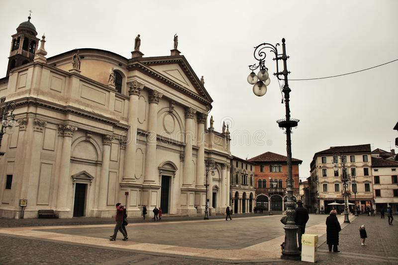 In the streets of bassano del grappa, palaces and churches with squares of the beautiful town.  royalty free stock photos