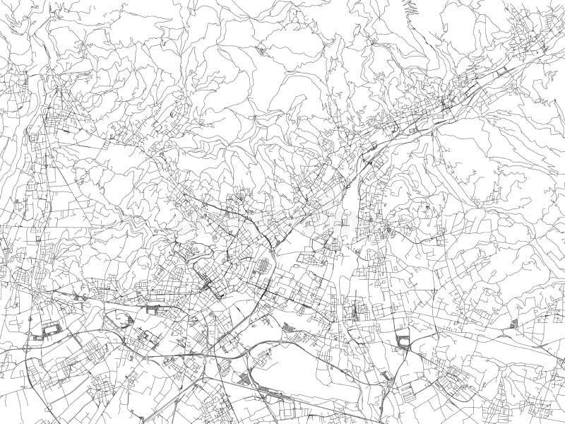 Streets of Bergamo, city map, Lombardy, Italy. royalty free illustration