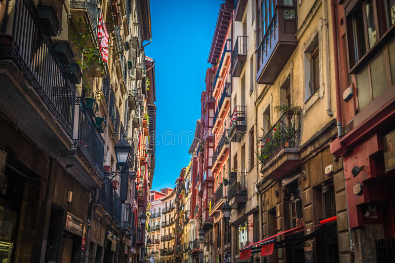 Streets of Bilbao in Basque Spain stock photo