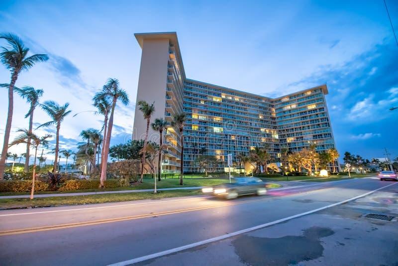 Boca Raton Buildings At Night, Florida Stock Image - Image ...