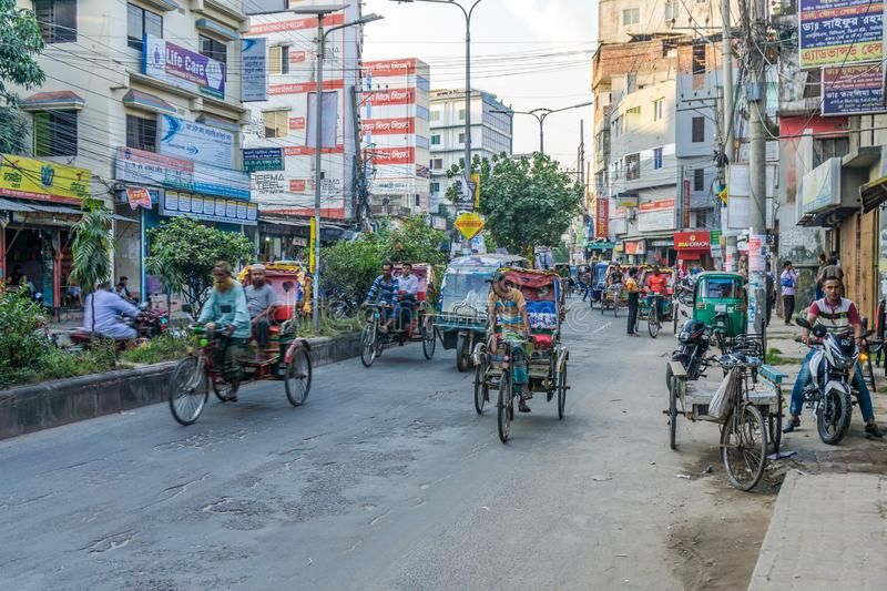 In the streets of Bogra - Bangladesh. BOGRA,BANGLADESH - NOVEMBER 4,2019 - In the streets of Bogra. This city is also known as the capital of North Bengal of stock photos