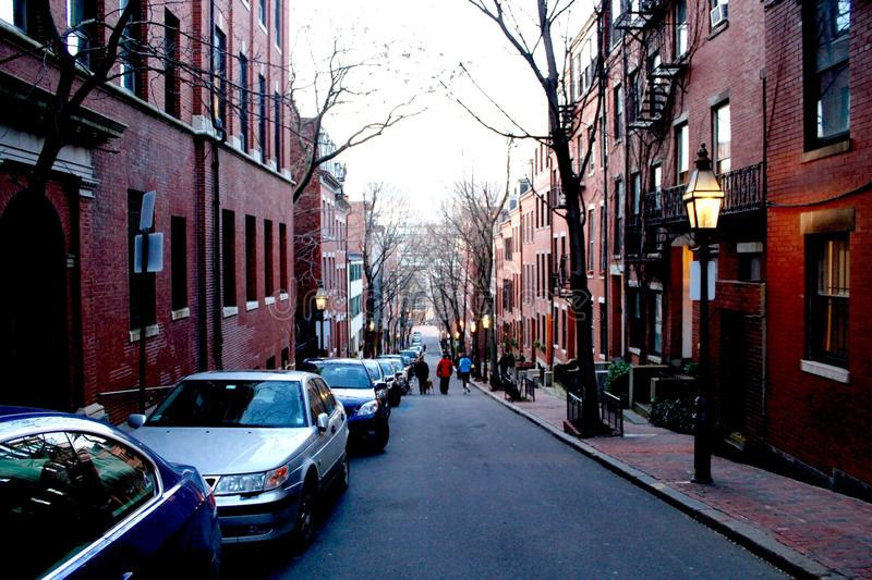 Streets of Boston. Down hill view of Pinckney Street in Boston, Massachusetts, United States of America stock photo