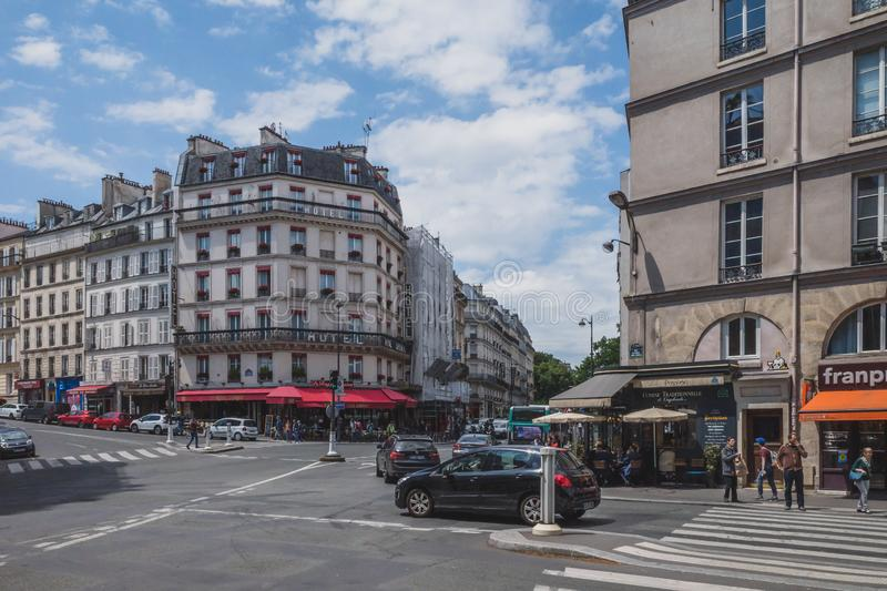 Streets and buildings in downtown Paris stock photography