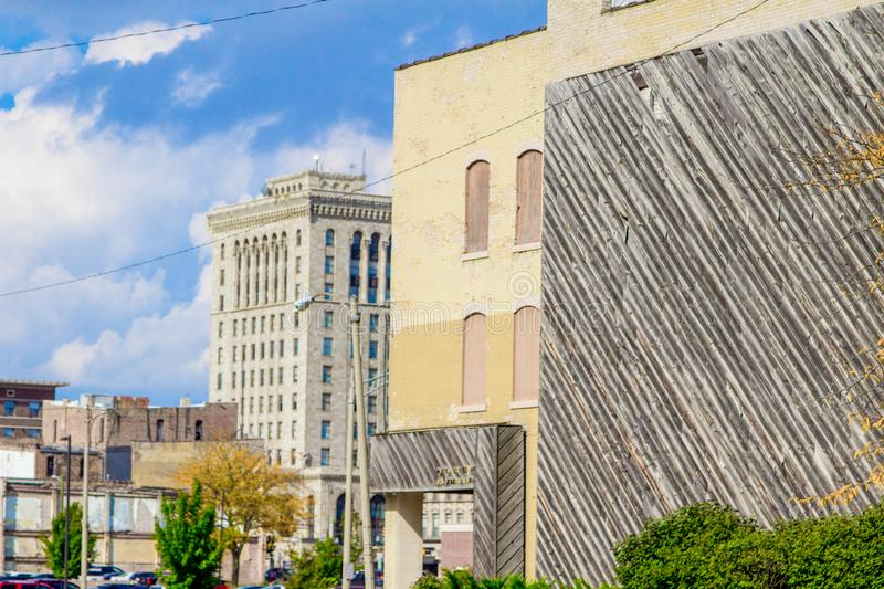 Streets And Buildings Of Downtown Saginaw Michigan. City streets and buildings of the downtown district of Saginaw, Michigan in the Midwestern rust belt of royalty free stock image