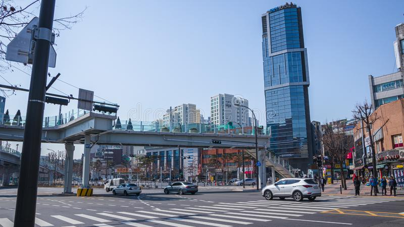 Streets and buildings in Seoul stock photos