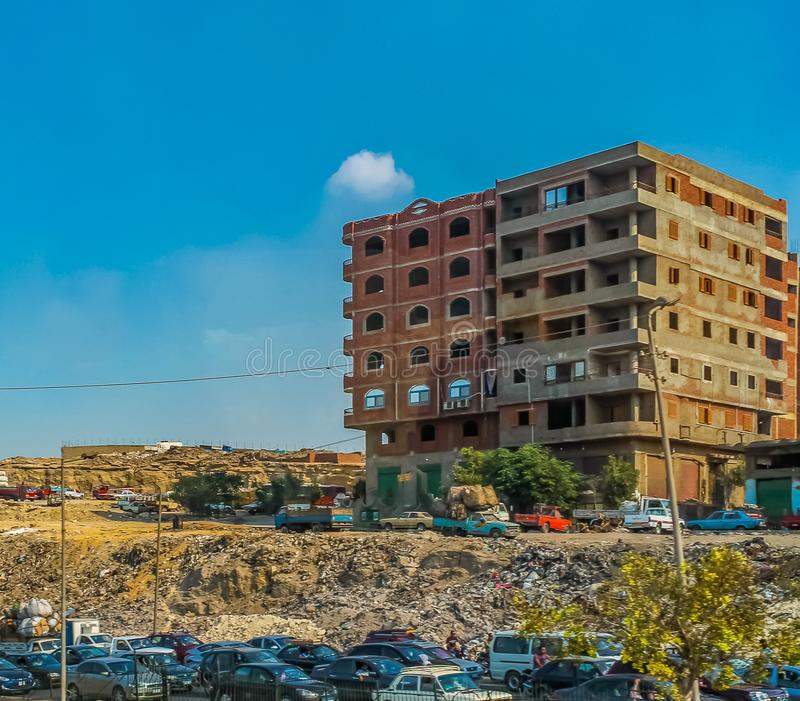 The streets of Cairo are overcrowded with people and waste products and a huge population density. Overcrowded with people and waste products and a huge stock photo