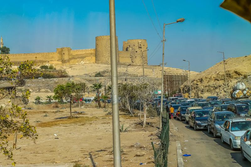 The streets of Cairo are overcrowded with people and waste products and a huge population density. Cairo are overcrowded with people and waste products and a royalty free stock photo