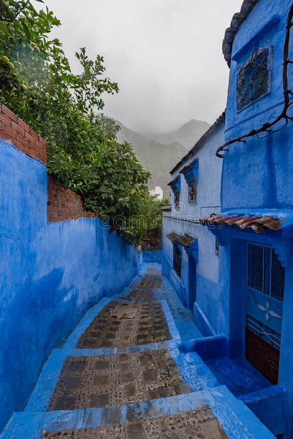 Streets of Chefchaouen the Blue city of Morocco stock image