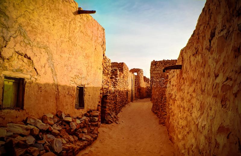 Chinguetti old city street at Mauritania. Streets of the Chinguetti old city, Mauritania royalty free stock image