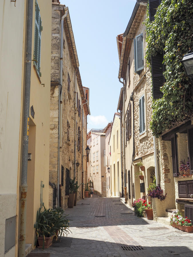 Streets of the city of Antibes. France, Cote D'Azur, June 2016 royalty free stock photos