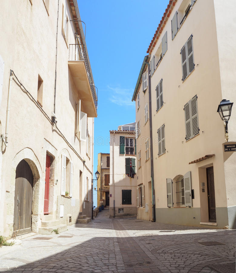 Streets of the city of Antibes. France, Cote D'Azur, June 2016 stock images