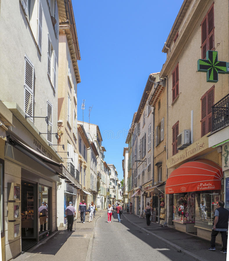 Streets of the city of Antibes. France, Cote D'Azur, June 2016 stock photos