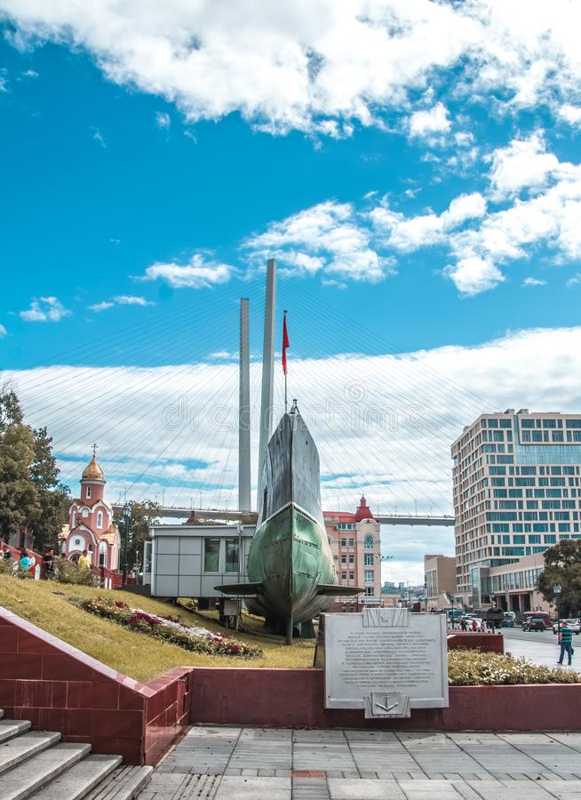 The streets of the city of Vladivostok. Architecture Of Vladivostok. Monuments Of Vladivostok. Monument.  Street photography royalty free stock photography