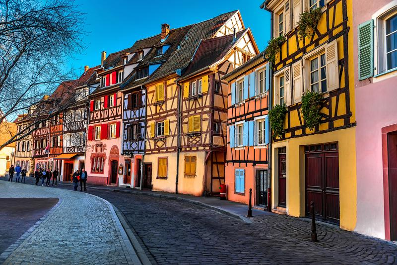 Streets of Colmar, Grand Est Alsace in spring. Colmar, Alsace, France, February 24, 2019. Cozy and beautiful streets of the French city on a sunny spring warm stock images