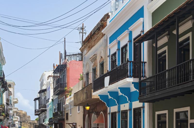 Streets and Facades of Old San Juan. Streets and colorful storefront facades in old san juan puerto rico stock image