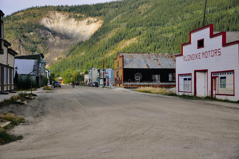 The streets of Dawson City, Yukon. Dawson City, Yukon is the heart of the world-famous Klondike Gold Rush royalty free stock photography